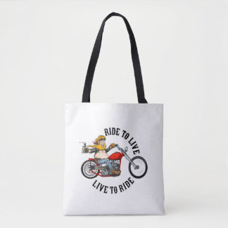 biker motorcyclist wrinkles to live tote bag