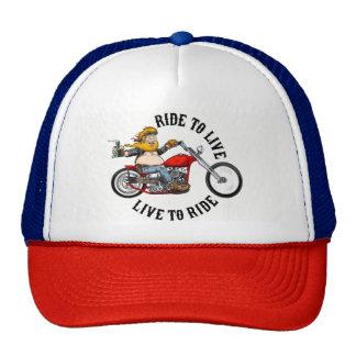 Biker motorcyclist wrinkles to live trucker hat