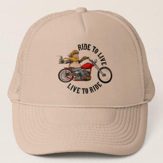 Biker motorcyclist wrinkles to live trucker hat