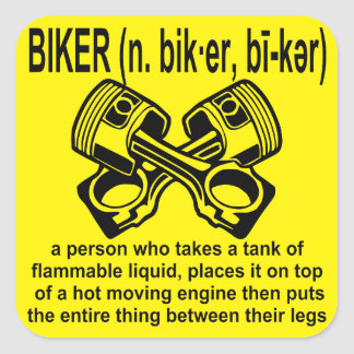 Biker (n) Definition: A Person Who Takes A Tank Of Square Sticker