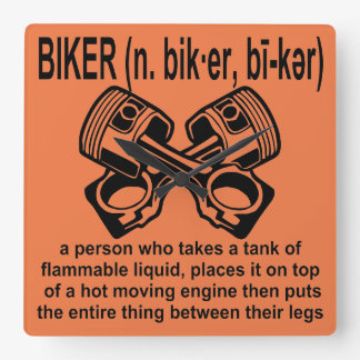 Biker (n) Definition: A Person Who Takes A Tank Of Square Wall Clock