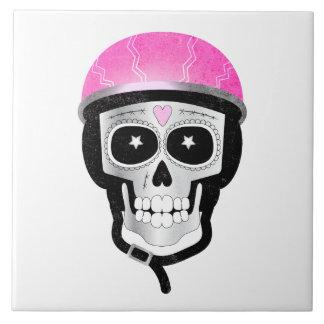 Biker or Cyclist Sugar Skull Tile