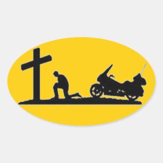 BIKER PRAYING OVAL STICKER