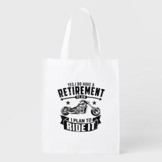 Biker Retirement Reusable Grocery Bag