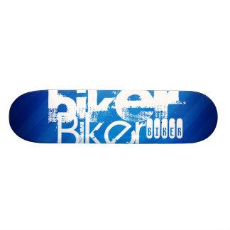 Biker; Royal Blue Stripes Skate Deck