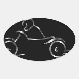 Biker showing road safety oval sticker