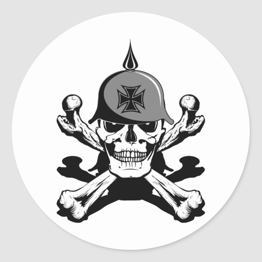 Biker skull and bones classic round sticker