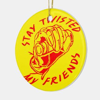 Biker Stay Twisted My Friends Round Ceramic Ornament