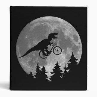 Biker t rex In Sky With Moon 80s Parody 3 Ring Binder