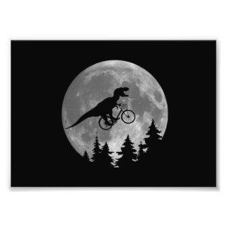 Biker t rex In Sky With Moon 80s Parody Photo Print