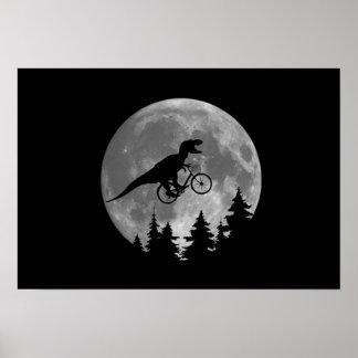Biker t rex In Sky With Moon 80s Parody Poster