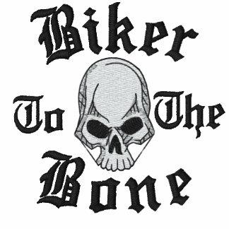 Biker To The Bone Skull Embroidered Shirt