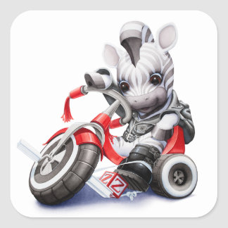 Biker Zebra Riding Red Tricycle Sticker