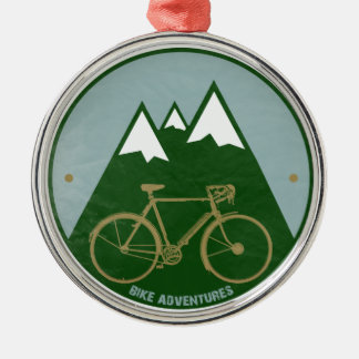 bikers adventure, mountains metal ornament