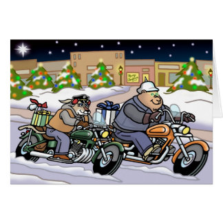 Bikers are Animals Xmas Card - Going Home