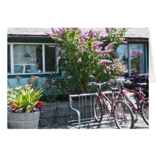 Bikes at Cafe Greeting Card