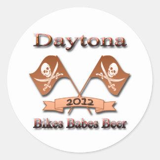 Bikes Babes Beer 2012 Daytona red Classic Round Sticker