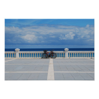 Bikes by the Cantabrian Sea in Spain Poster