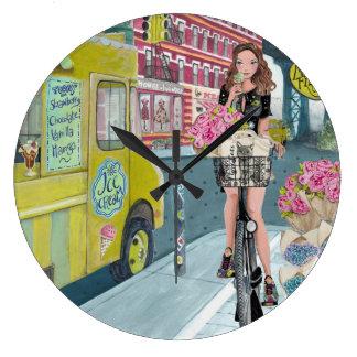 Biking Girl Brooklyn NY | Clock
