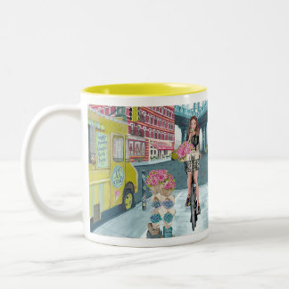 Biking Girl in Brooklyn New York | Mug