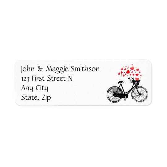 Biking Heart Love Vintage Art Custom Address Return Address Label