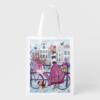 Biking in Amsterdam reusable grocery bag
