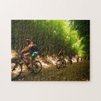 Biking in bamboo trail jigsaw puzzle