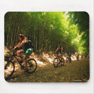 Biking in bamboo trail mouse pad