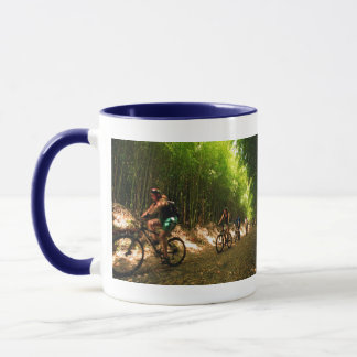 Biking in bamboo trail mug