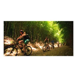 Biking in bamboo trail picture card