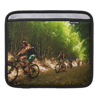 Biking in bamboo trail sleeves for iPads