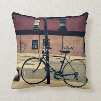 Biking in Brooklyn Pillow
