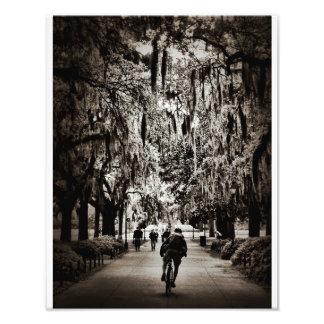 Biking In Forsyth Park (Black And White) Photo Art