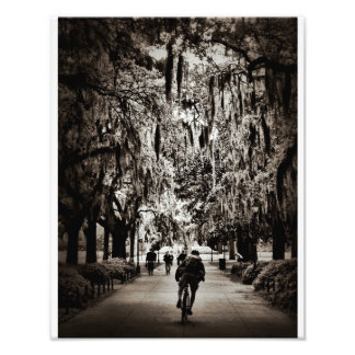 Biking In Forsyth Park (Black And White) Photo