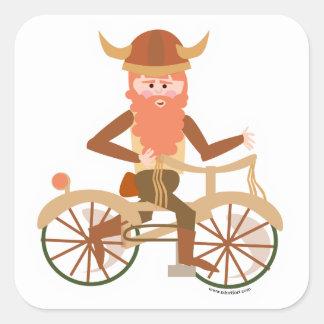 Biking Viking Square Sticker
