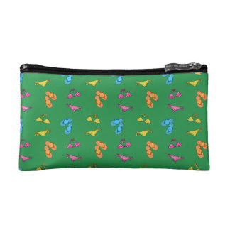 Bikini and sandals green pattern makeup bags