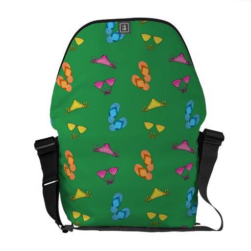 Bikini and sandals green pattern messenger bag