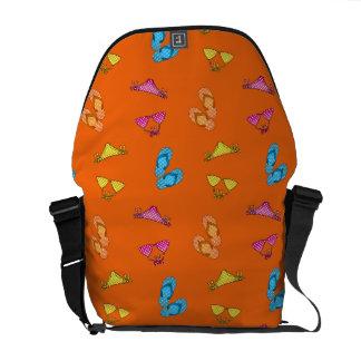 Bikini and sandals orange pattern courier bag