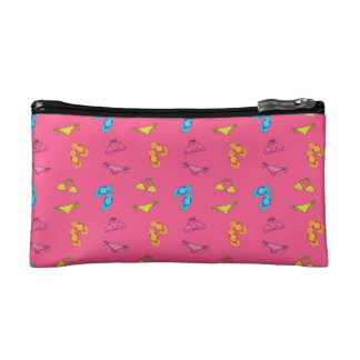 Bikini and sandals pink pattern cosmetic bags