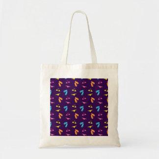 Bikini and sandals purple pattern budget tote bag