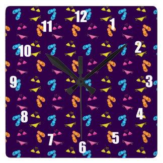 Bikini and sandals purple pattern square wall clocks