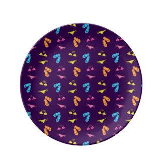 Bikini and sandals purple pattern porcelain plates