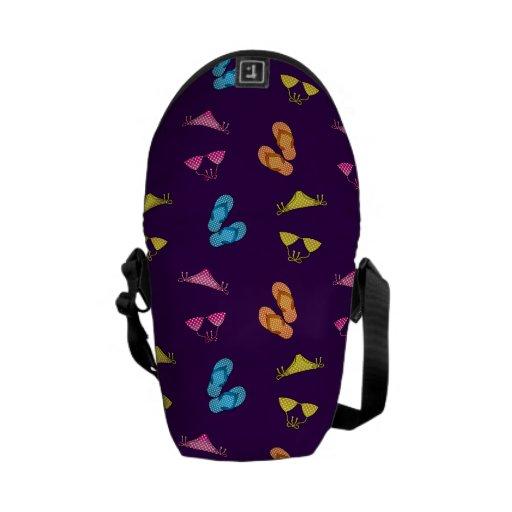 Bikini and sandals purple pattern messenger bags