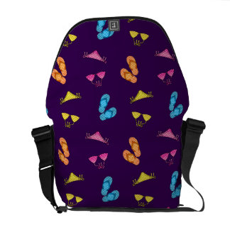 Bikini and sandals purple pattern courier bags