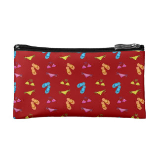 Bikini and sandals red pattern cosmetic bags