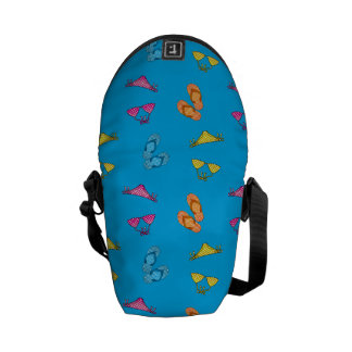 Bikini and sandals sky blue pattern courier bags