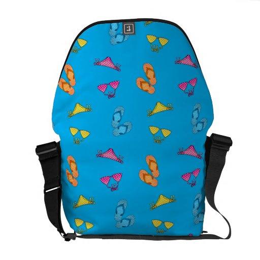 Bikini and sandals sky blue pattern messenger bag