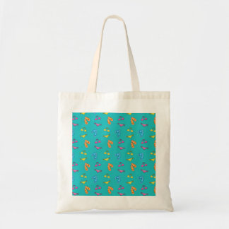 Bikini and sandals turquoise pattern canvas bag