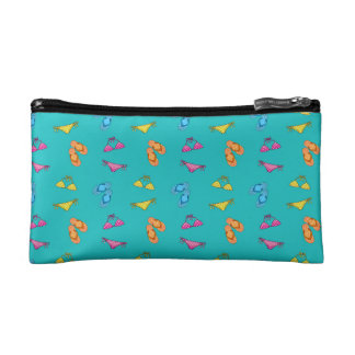 Bikini and sandals turquoise pattern makeup bags