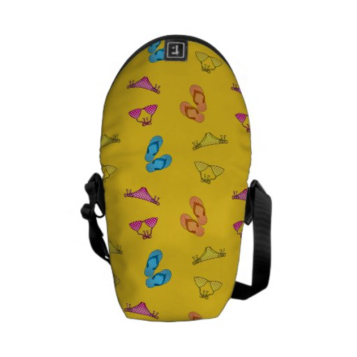Bikini and sandals yellow pattern courier bags